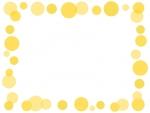 大小水玉(黄色)のフレーム飾り枠イラスト