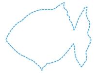 金魚の形の水色の点線フレーム飾り枠イラスト