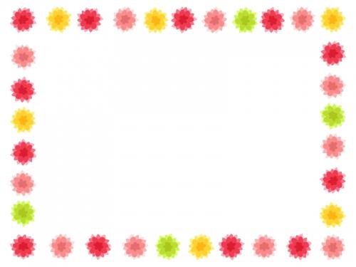 暖色系のカラフルな花の囲みフレーム飾り枠イラスト