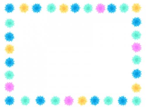 寒色系のカラフルな花の囲みフレーム飾り枠イラスト