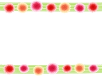 暖色系のお花の和風上下フレーム飾り枠イラスト