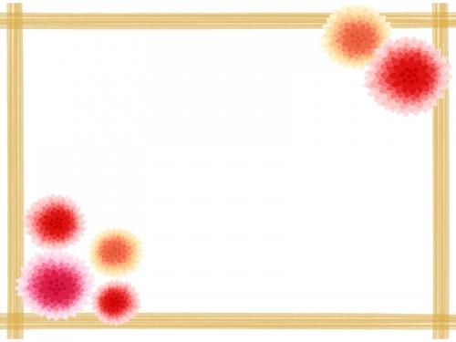 暖色系のお花と茶色い和風四角フレーム飾り枠イラスト