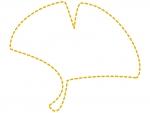 イチョウの葉の形の黄色の点線フレーム飾り枠イラスト
