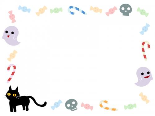 ハロウィン・おばけや黒猫やキャンディの囲みフレーム飾り枠イラスト