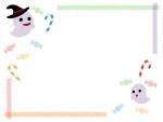 ハロウィン・おばけやキャンディのパステルカラー線フレーム飾り枠イラスト