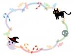 ハロウィン・おばけや黒猫のパステルカラー線もこもこフレーム飾り枠イラスト