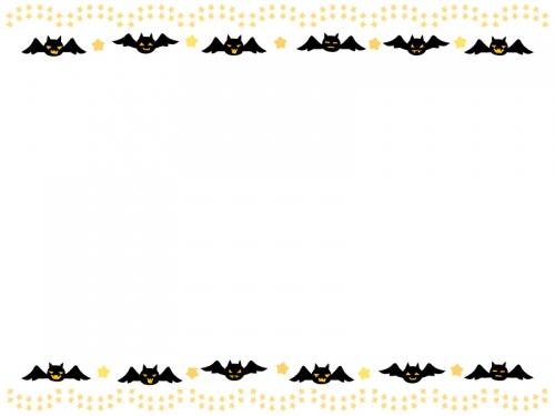 ハロウィン・コウモリと星の飾りの上下フレーム飾り枠イラスト