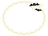 ハロウィン・コウモリと星の飾りの楕円形フレーム飾り枠イラスト