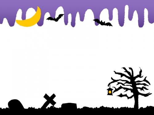 ハロウィン・紫色の垂れたような背景のフレーム飾り枠イラスト