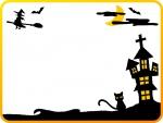 ハロウィン・月とお城と魔女のフレーム飾り枠イラスト