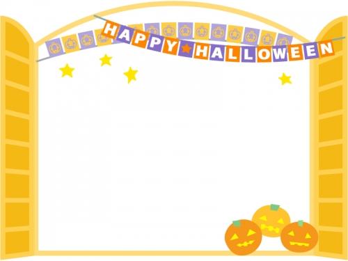 ハロウィン・フラッグガーランドとオレンジ色の窓のフレーム飾り枠イラスト