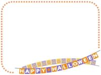 ハロウィン・フラッグガーランドとオレンジ色の点線フレーム飾り枠イラスト
