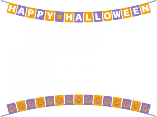 ハロウィン文字入りフラッグガーランドの上下フレーム飾り枠イラスト