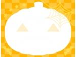 ハロウィン・かぼちゃの形とチェック模様のフレーム飾り枠イラスト