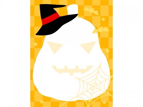 ハロウィン・かぼちゃの形とチェック模様の縦長フレーム飾り枠イラスト