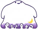 ハロウィン・大きなおばけの紫色の線のフレーム飾り枠イラスト
