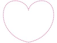 ハートの形のピンク色の点線フレーム飾り枠イラスト