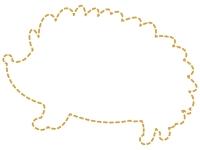 ハリネズミの形の黄色の点線フレーム飾り枠イラスト