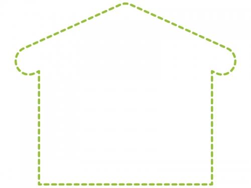 家の形の黄緑色の点線フレーム飾り枠イラスト