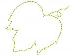 アイビー(蔦・ツタ)葉の形の黄緑色の点線フレーム飾り枠イラスト