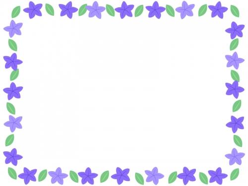 桔梗(キキョウ)の花の囲みフレーム飾り枠イラスト