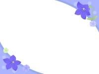 桔梗(キキョウ)の花の2隅のフレーム飾り枠イラスト