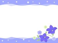 桔梗(キキョウ)の花と水玉の紫色上下フレーム飾り枠イラスト