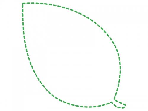 葉っぱの形の緑色の点線フレーム飾り枠イラスト