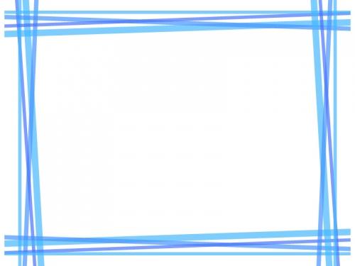重なった青い線の四角フレーム飾り枠イラスト