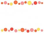 大小水玉(暖色系)の上下フレーム飾り枠イラスト