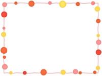 大小水玉(暖色系)と手書き線の四角フレーム飾り枠イラスト