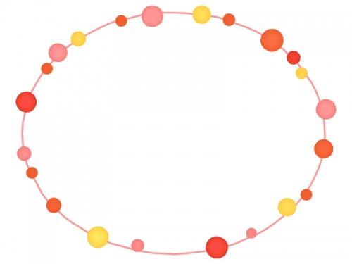 大小水玉(暖色系)と手書き線の楕円形フレーム飾り枠イラスト