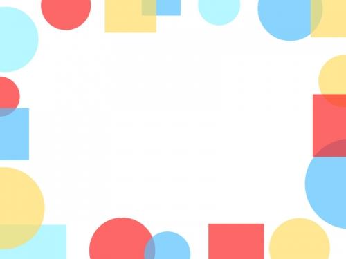 ポップな丸と四角のフレーム飾り枠イラスト
