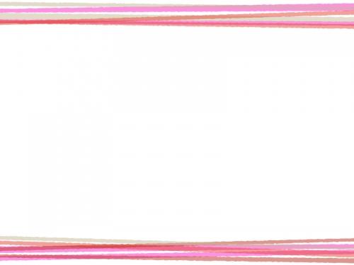 重なったピンク色の線の上下フレーム飾り枠イラスト