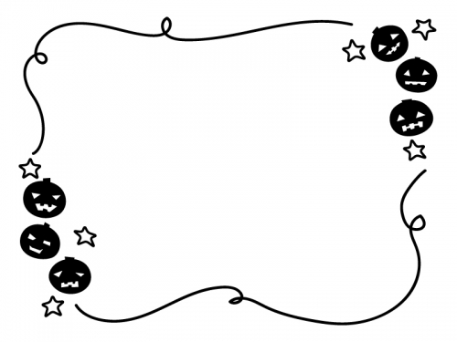 ハロウィン・かぼちゃと白黒手書き線フレーム飾り枠イラスト