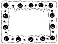 ハロウィン・かぼちゃと垂れたような白黒フレーム飾り枠イラスト