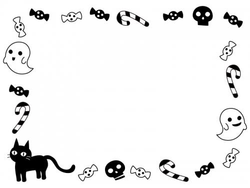 ハロウィン・おばけや黒猫の白黒囲みフレーム飾り枠イラスト
