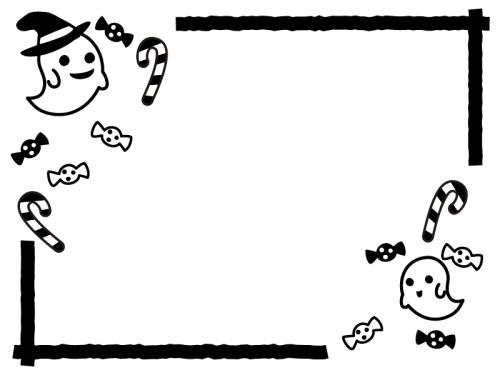 ハロウィン・おばけやキャンディの白黒フレーム飾り枠イラスト