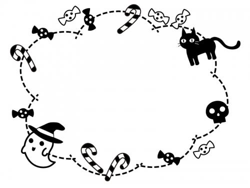 ハロウィン・おばけや黒猫の白黒点線もこもこフレーム飾り枠イラスト