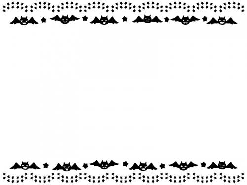 ハロウィン・コウモリと星の飾りの白黒上下フレーム飾り枠イラスト