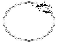 ハロウィン・コウモリと星の飾りの白黒楕円形フレーム飾り枠イラスト