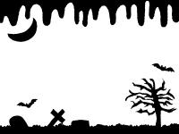 ハロウィン・垂れたような背景の白黒フレーム飾り枠イラスト