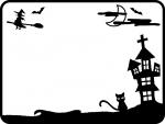 ハロウィン・月とお城と魔女の白黒フレーム飾り枠イラスト