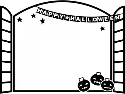 ハロウィン・フラッグガーランドと窓とかぼちゃの白黒フレーム飾り枠イラスト
