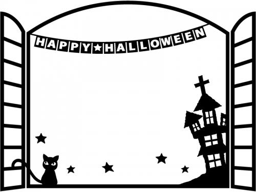 ハロウィン・フラッグガーランドと窓とお城の白黒フレーム飾り枠イラスト