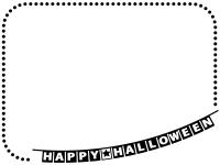 ハロウィン・フラッグガーランドと白黒点線フレーム飾り枠イラスト