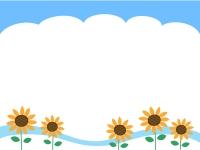 青空とひまわりの上下フレーム飾り枠イラスト