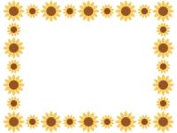 大小のひまわりの花の囲みフレーム飾り枠イラスト