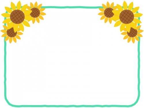 ひまわりの花の飾りとミントグリーンのフレーム飾り枠イラスト