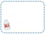 牛乳ビンの青色点線フレーム飾り枠イラスト